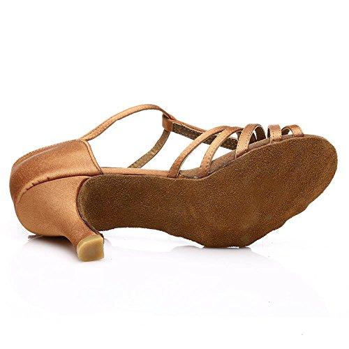 HROYL Donna I7-227 Raso Scarpe da Ballo Latino/Moderno/Jazz/Latino/ChaCha/Samba/Balletto 7CM Marrone