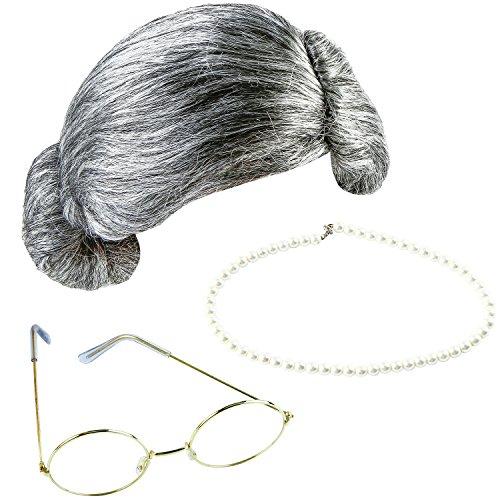 Keriber 3 Stücke Grau Großmutter Perücke Oma Brille -