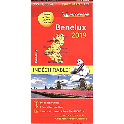 Carte Benelux indéchirable Michelin 2019