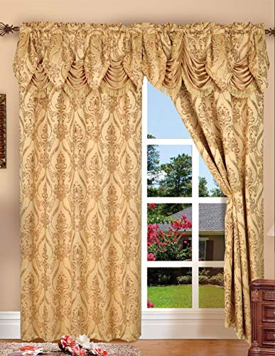 Penelopie Jacquard Rod Pocket Panel With Attached Valance, Gold, 54x84+18 -