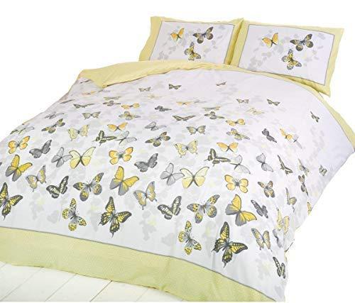 Bettwäsche PCJ Supplies - Herrliches Trendiges Funky Baumwolle Extra Großes Bettbezug Set Schmetterling Zitronen Gelb King Size - Bettbezug King-set Gelb