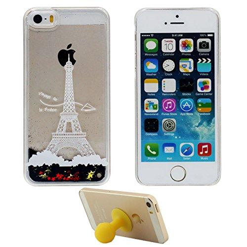 iPhone SE Coque Étui de Protection pour Apple iPhone 5 5S SE Sable Noir Étoiles Couler Dur Transparente Eau Liquide Pissenlit Amoureux Modèle iPhone SE Case avec 1 Silicone Titulaire color-5