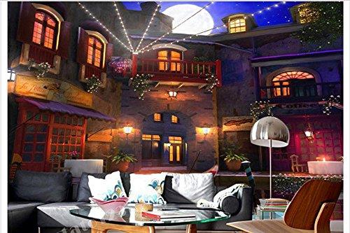 Chlwx 3D Wallpaper Custom 3D Wandbilder Wallpaper Neon Lichter In Der Nacht Schloss Dorf Einstellung Wandbilder Zimmer Wallpaper 200Cmx150Cm Neon-plakate