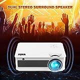 Proyectores, WiMiUS Video Proyector 4000 Lúmenes Soporta Full HD 1080P Proyector LED 50000 Horas Proyector HD con 200' Pantalla, Proyector cine en casa con el Interfaz HDMI/ USB/ VGA/ AV/ TF -Blancho