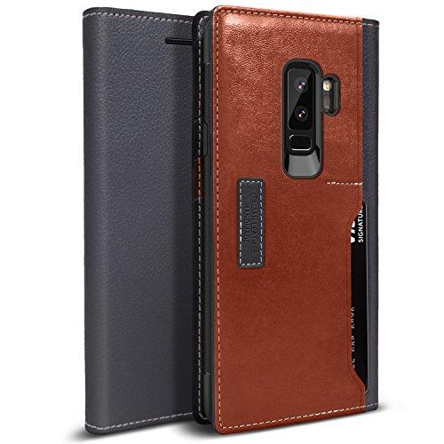 e, OBLIQ [K3 WALLET], Flip-Cover mit vier Kreditkarten- & ID-Taschenfächern Stylischer Kreditkartenetui aus hochwertigem italienischem Leder mit Tropfenschutz- und Stoßdämpfungs-Kissen für das Samsung Galaxy S9 PLUS (2018). (chwarz Grau / Braun) (Italienische Leder-karte Fall)