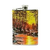 ALAZA Portátil de bolsillo de cuero de la PU de acero inoxidable frasco Árboles y puesta del sol en frío de aceite pintura de paisaje Flagon 8 onzas