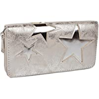 styleBREAKER purse with star cutout print of contrasting colour, circumferential zipper, women 02040037, color:Antique Silver / Shiny Silver Star
