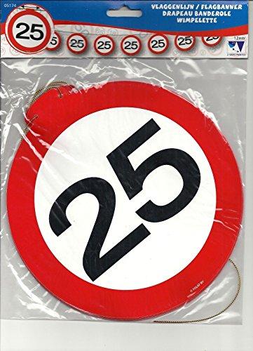 Partykette Verkehrsschild Zahl 25 (Lollipop Dekorationen Geburtstag)
