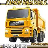 Camion Cantiere Ribaltabile Man RADIOCOMANDATO Mezzo Cantiere LUCI LED Suoni Motore Elettrico