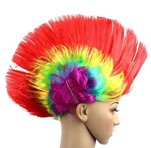 en Halloween Maskerade Punk Mohawk Mohican Frisur Bunte Wappen Form Haar Perücke (F) ()