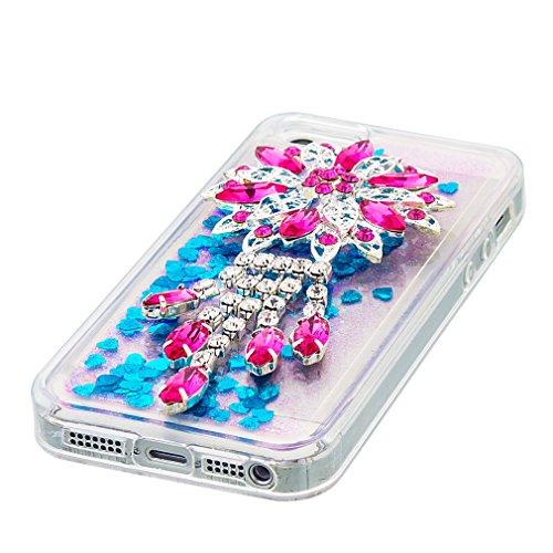 Mk Shop Limited Coque pour iPhone SE, iPhone 5 / 5S Coque,iPhone SE / 5S / 5 Gel 3D Transparent Hourglass Sables Mouvants Liquide Coque Slim Soft Etui Housse, iPhone SE / 5S / 5 Silicone Clear Case TP Multi-couleur 5