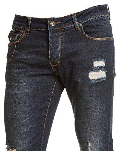 BLZ jeans - Jean slim homme bleu foncé destroy Bleu