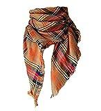Manta larga a cuadros de las mujeres de gran tamaño de gran bufanda cálida tartán Abrigo chal de tela escocesa para la muchacha (3 #)