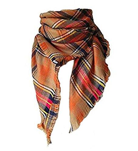 Damen lange Plaid Decke klobige übergroßen großen warmen Schal Tartan Wrap Plaid Schal für Mädchen (3 #) (Baumwoll-pullover Klobige)