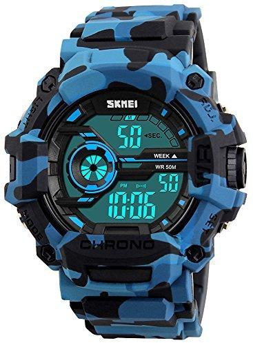 Fanmis de los hombres Digital LED Deportes reloj impermeable electrónica Casual Military muñeca correa de camuflaje azul niños reloj con banda de silicona luminoso ejército relojes