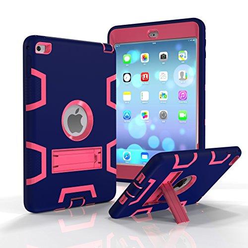 Fizze Schutzhülle für iPad Mini 4, dreilagig, Polycarbonat und Silikon, stoßfest, stoßfest, stoßfest, schützt das gesamte Gehäuse mit Ständer für iPad Mini 4, 20,1 cm (7,9 Zoll) 2015 Modell Tablet