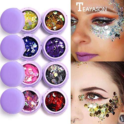 Simsly Chunky Glitter Eyeshadow Helle Pailletten Beauty Party oder Musikfestival Kosmetischer Glitter für Frauen und Mädchen (8 Farben) ((# 5 Rot))