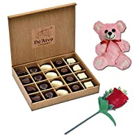 De'Arco Chocolatier Chocolates Valentine Day Gift for Girlfriend Boyfriend Husband Wife, Premium Luxury Chocolates, 20pcs + Free Rose & Teddy