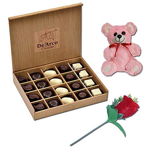 De'Arco Chocolatier Valentines Day Chocolate Gift, Premium Luxury Chocolates, 20pcs + Free Teddy and Rose