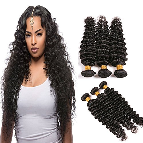 Dai weier curly brazilian hair extension ricci brasiliane deep wave 3 bundles natural real remi virgin human hair extensions 8 10 12 inches