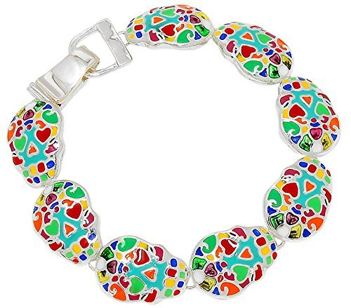 Glamour Girl Gifts Colorful Sugar Skull Day of The Dead inspiriert Silber Ton magnetisch Charm Armband Halloween - Teen Halo Kostüm