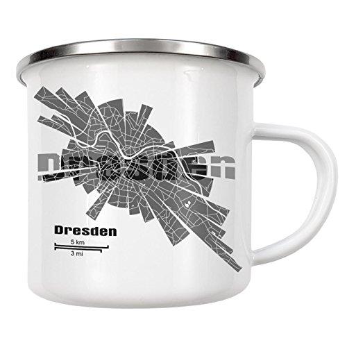 """artboxONE Emaille Tasse """"Dresden light"""" von ShirtUrbanization - Emaille Becher Abstrakt"""