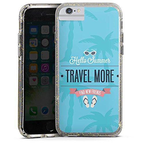 Apple iPhone 6s Bumper Hülle Bumper Case Glitzer Hülle Sommer Summer Travel Bumper Case Glitzer gold