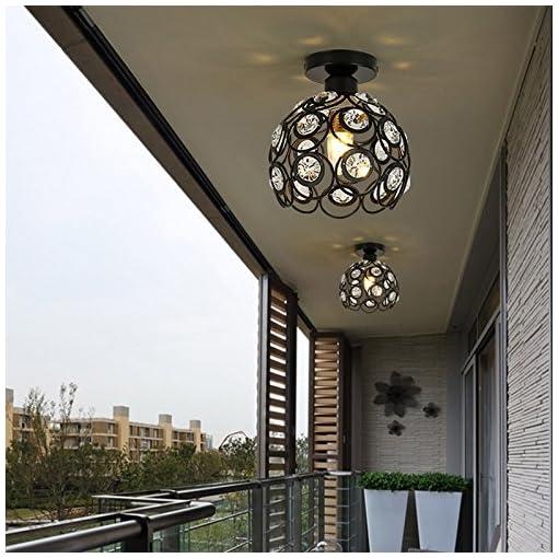 Plafoniera in Cristallo Moderno Lampadario in Cristallo Luce Lüster Lampadario 60W E27 per corridoio portico camera da letto (20cm-Black)