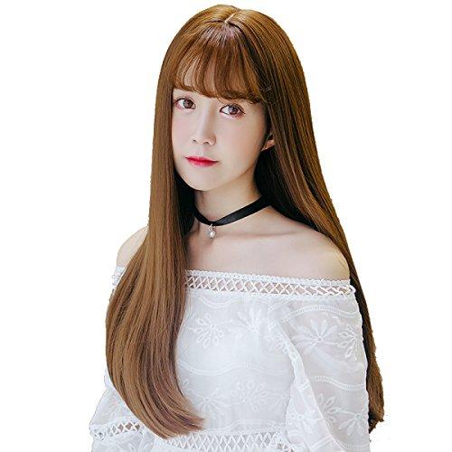 Snifgoij Perücke Weiblich Lang Lockig Haare Korea Natur Mittleres Langes Haar Realistisch Große Kopfhaut Lange Straight Haar Soft Durable Anime Einfach Zu Tragen,B (Kopfhaut Natürliche)