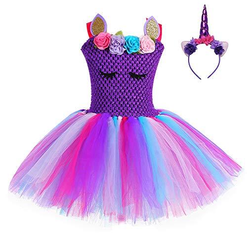 FONLAM Vestido de Bautizo Fiesta Niña Bebé Disfraz de Unicornio Princesa Tutú Vestido Infantil Flores Carnaval Niña (12-24 Meses, Morado Oscuro)