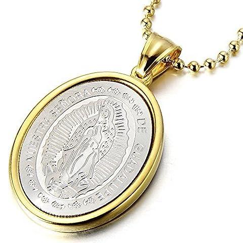 Jungfrau Maria Mary Wundersame Medaille Anhänger Herren Damen Halskette aus Edelstahl mit 60cm Stahl Kugelkette