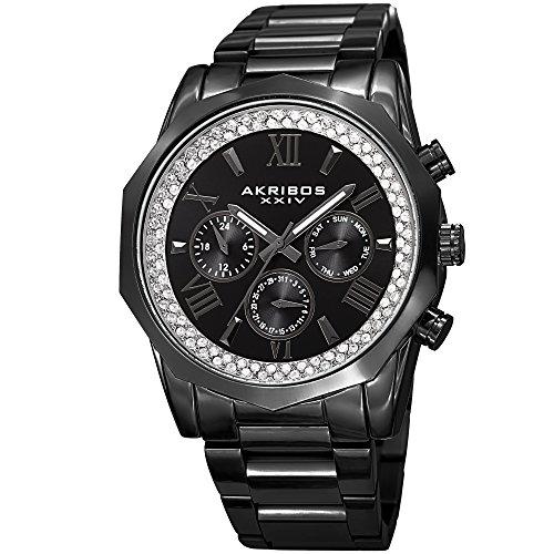 Akribos XXIV Multifonctions à Quartz pour Homme Cristal Accentuée Noir Bracelet de Montre en Acier Inoxydable–Ak999bk