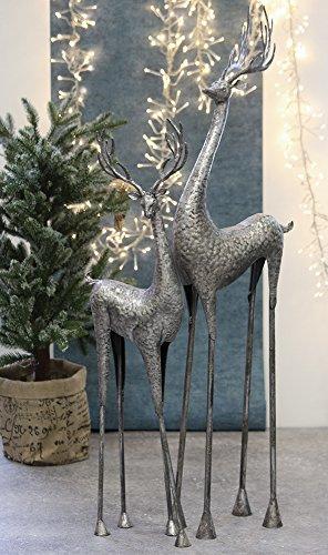 Hirsch Metall antik-silber Höhe 90 cm, Weihnachten, Christmas, Rentier, Deko (rechts (gerade...