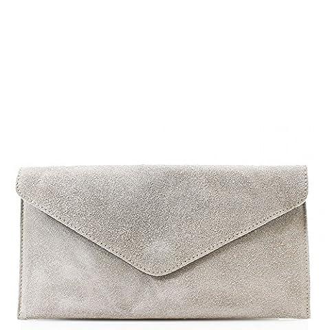 Genuine Italian Suede Leather Envelope Clutch Bags Party Wedding Purse Handbag Cross Body Bag CW01 (L.Grey)
