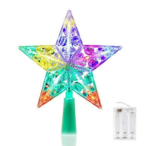 Weihnachtsbaum Sterne Deckel, Volador 6-Zoll-Weihnachtsstern Beleuchtet für Feiertags-Dekorationen - Mehrfarben LED Weihnachtsbaum Sterne