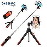 Handheld Stativ 3 in 1 Selbstporträt Monopod Ausziehbarer Handy Selfie Stick mit eingebautem Bluetooth Remote Shutter -Orange