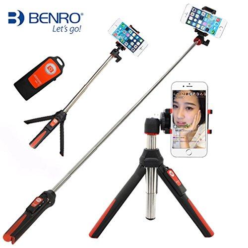 Palmare Treppiede 3 in 1 monopiede allungabile del bastone per selfie con otturatore integrato Bluetooth Remote(Arancia)