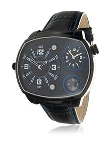 Boudier & Cie Herren Shark Kingsize Collection Quarz Armbanduhr mit zwei Zeitzonen und ovalem Gehäuse - Analoge Anzeige - Kompass - Lederarmband Gehäuse aus Edelstahl Größe XL - OZG1143