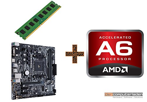 PC Aufrüstkit AMD, A6-9500 2x3.5 GHz, 8GB DDR4, AMD Radeon R5, Mainboard Bundle, Tuning Kit, fertig montiert, Spiele Office zusammengestellt in Deutschland Desktop Rechner