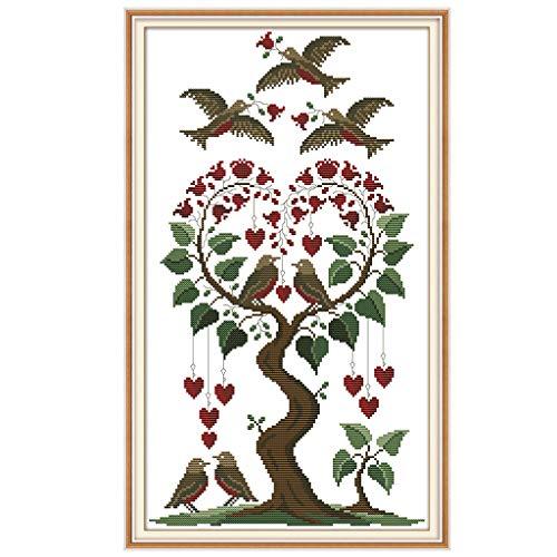 MIKI-Z Herz Baum Vogel DIY Handarbeit Handarbeit gezählt 14CT gedruckt Kreuzstich Stickerei Kit Set Home Decoration -