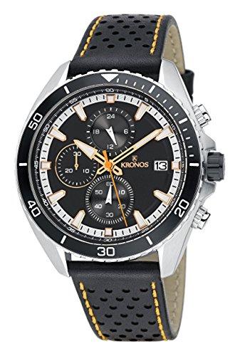 KRONOS - Sport Q Racing Chrono Black K005.55 - Reloj de Caballero de Cuarzo, Correa de Piel, Color Esfera...