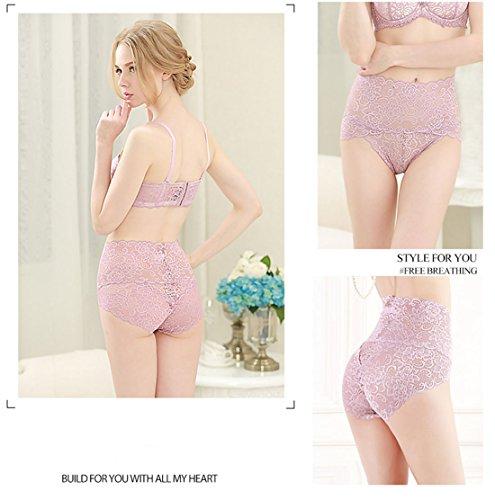 cool nik Damen High Waist Spitze Panty Bequeme Unterwäsche mit hoher Elastik - Pink - Groß - 3