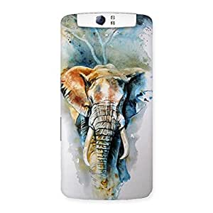 Impressive Elephant Art Back Case Cover for Oppo N1
