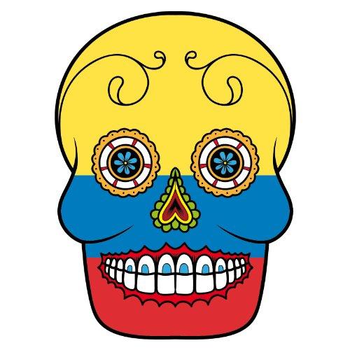 T-Shirt - Kolumbien - Sugar Skull - Fahne - Herren - unisex Weiß