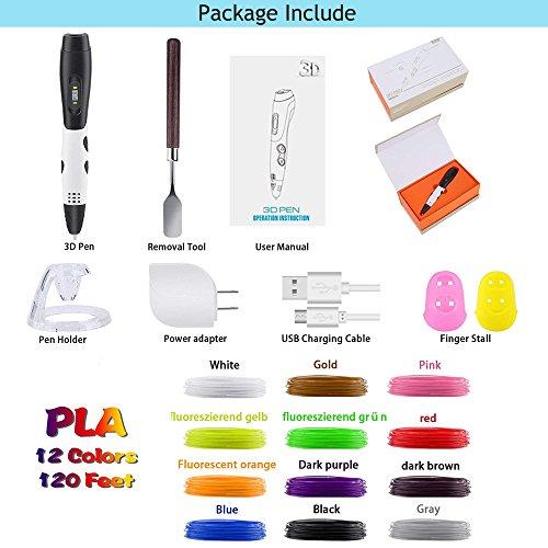 3D Stift mit 12 Farben PLA Filament Minen 3D Zeichnung Druck Stift Bonus 18 Farben 120 Füße PLA 250 Schablonen eBooks für Kinder Erwachsene Kunsthandwerk DIY - 2