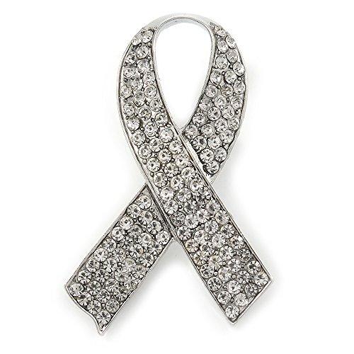 Statement-Brosche zugunsten der Aufklärung von Brustkrebs, mit klaren Strass-Steinen besetztes Band, rhodiniert, 55 mm L