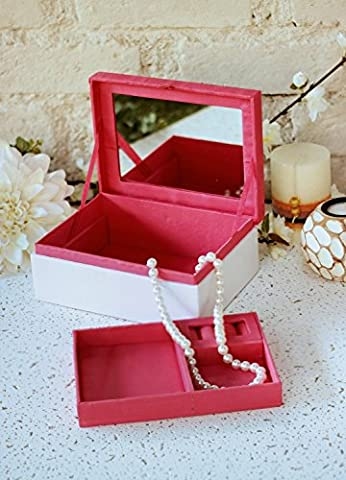 Beautiful White Jewellery Trinket Box Organiser with Mirror Keepsake Storage Chest with Hand Embroidered Cover