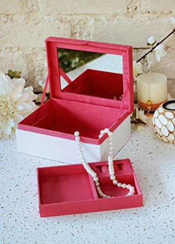 Store Indya, Bei monili bianca scatola Organizzatore con lo specchio ricordo bagagli petto con la (Bianco Bagagli Petto)