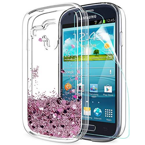 LeYi Hülle Galaxy S3 Mini Glitzer Handyhülle mit HD Folie Schutzfolie,Cover TPU Bumper Silikon Flüssigkeit Treibsand Clear Schutzhülle für Case Samsung Galaxy S3 Mini Handy Hüllen ZX Rot Rosegold