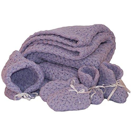 Dazoriginal Handgefertigte Strickdecke Kaschmir Mixen Cellular Decke Babydecken Sommer Geschenksets Neugeborene Mütze Boote Decke Violett (Violett Tröster Set)